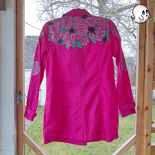 Roses and Spider Web Hand Painted Jacket - Womens Small