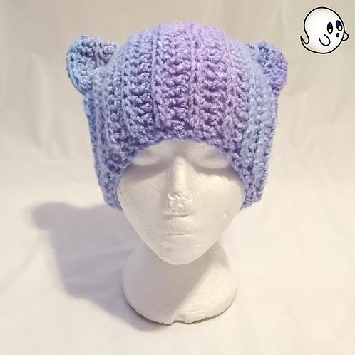 Variegated Blue to Purple Crochet Cat Ear Hat