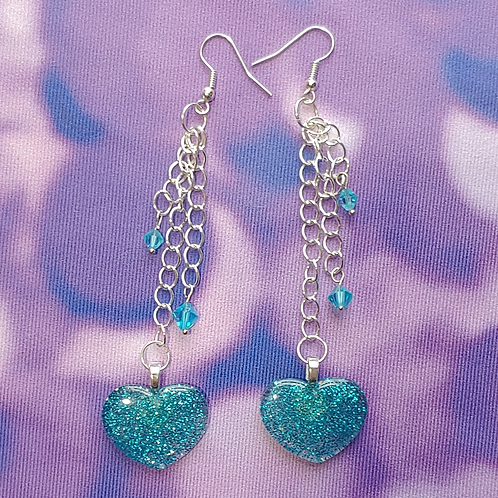 Blue Glitter Heart Dangle Earring