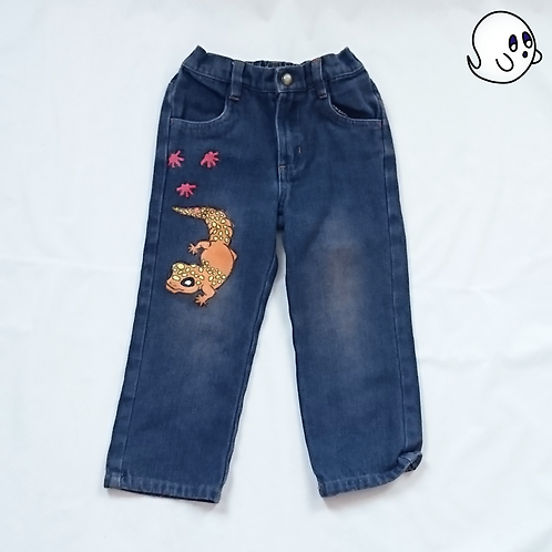 Salamander Hand Painted Denim Pants - Toddler 3T