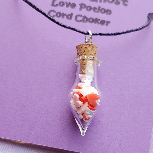 Red, White and Pink Hearts Love Potion Cord Choker