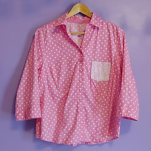 Pink Polka Dot Mismatch Pocket Reworked Shirt - Women's Large