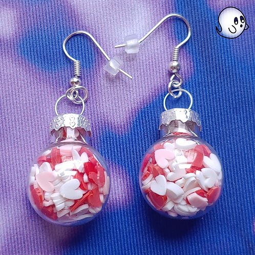 Red and Pink Heart Glitter Ornament Dangle Earring