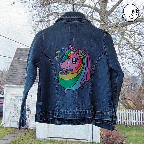 Unicorn Hand Painted Denim Jacket - Toddler 4T