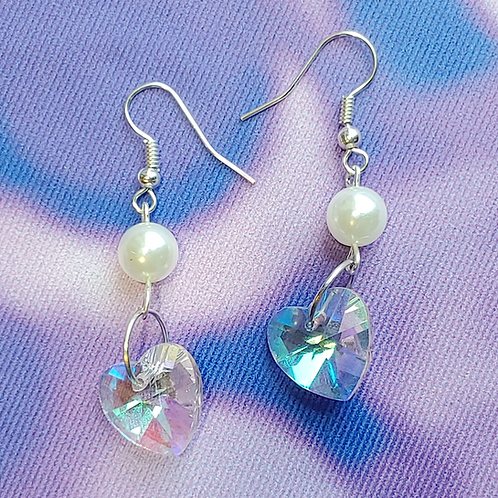 Pink Glass Heart Dangle Earring