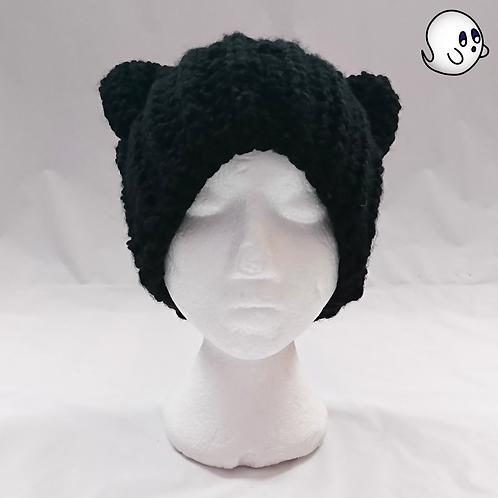 Black Crochet Cat Ear Hat