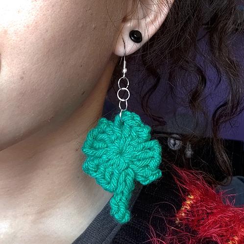 Crochet Clover Dangle Earring