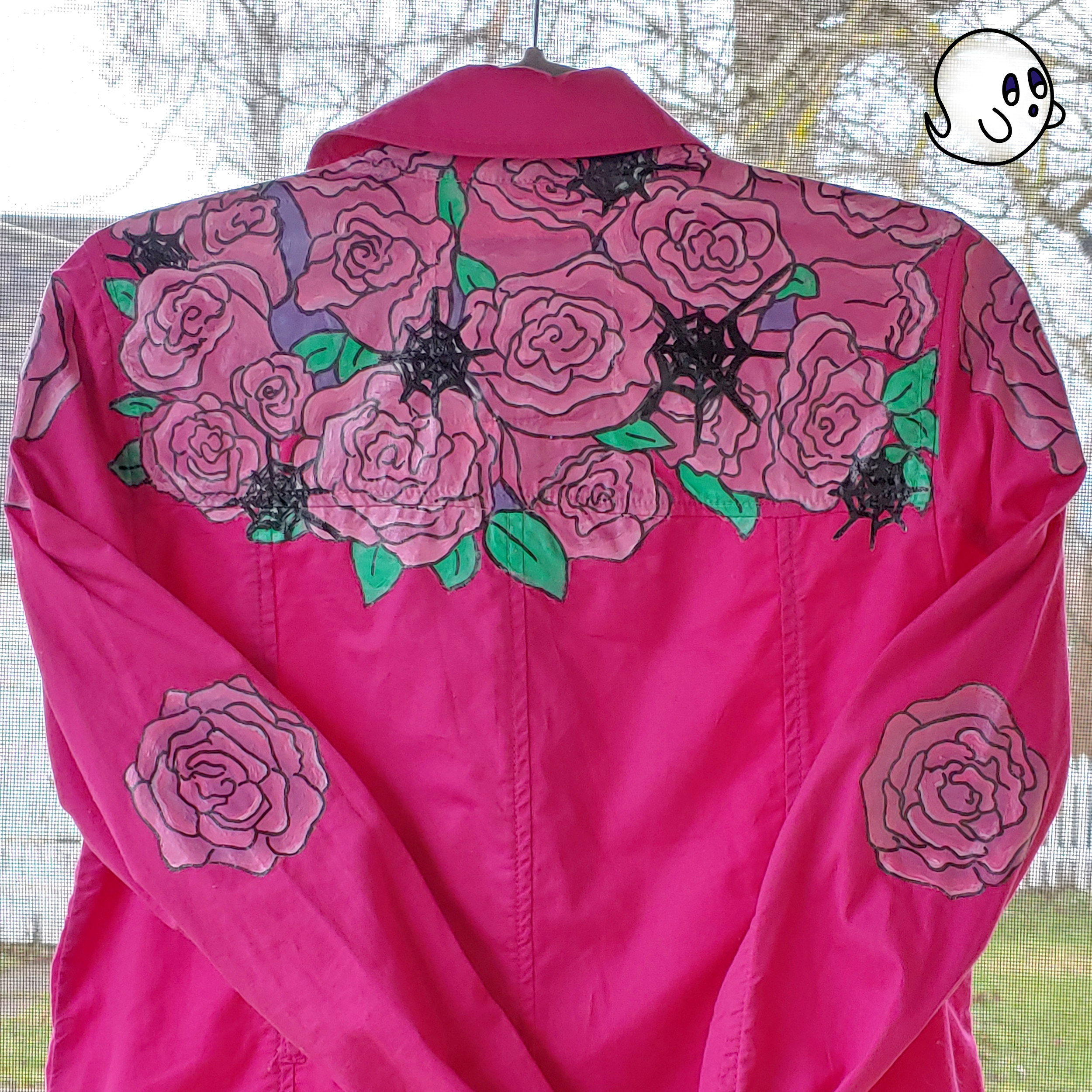 Hand painted Roses and Webs Jacket