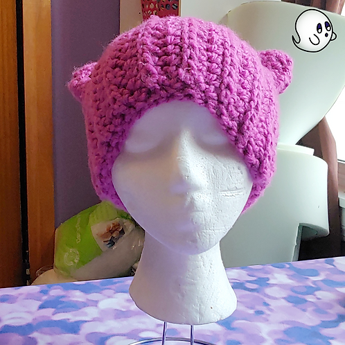 Pink Crochet Cat Ear Hat