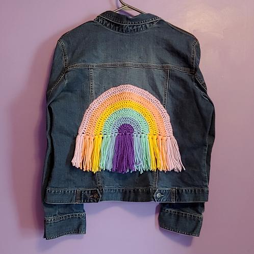 Rainbow Crochet Denim Jacket - Women's Medium