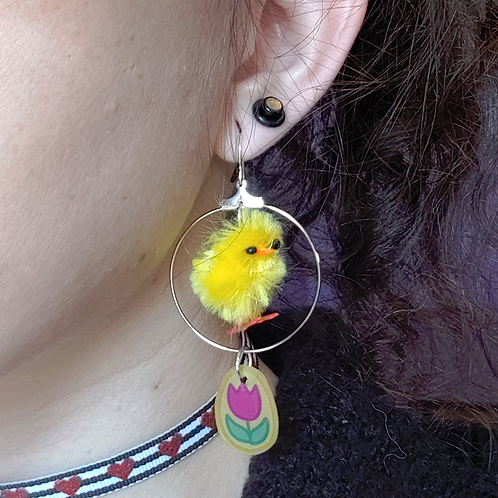 Chick and Tulip Egg Dangle Earring
