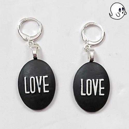 Love Oval Dangle Earring