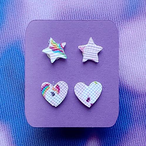 Unicorn Star and Heart Stud Earring Set