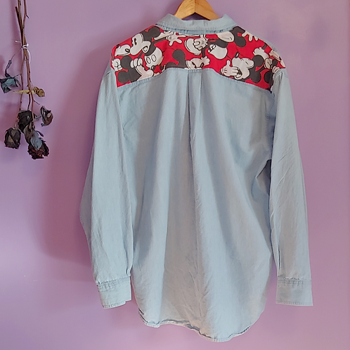Mickey Mouse Reworked Denim Shirt - Women's Large