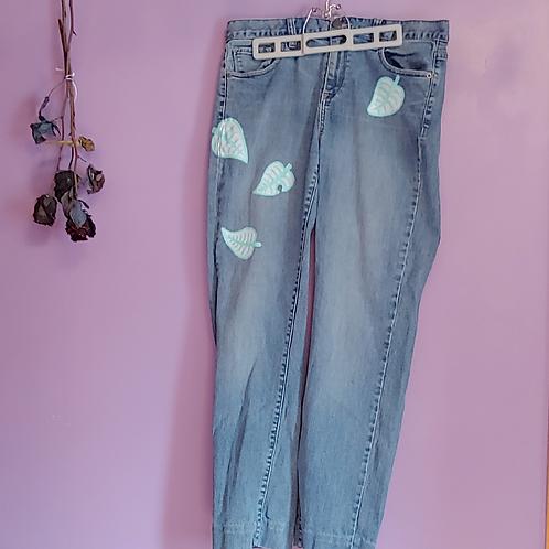 ACNH Leaf Hand Painted Denim Pants - Women's Medium (31/12)