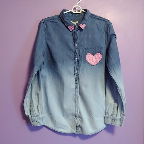 Heart Painted Denim Shirt - Women's Large