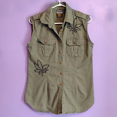 Weed Leaf Denim Shirt Tunic - Women's Small