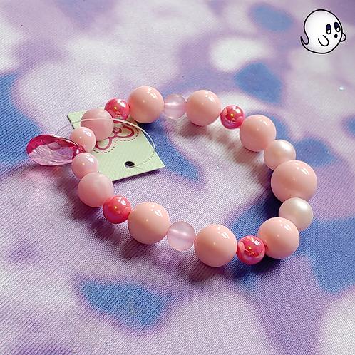 Pink Crystal Drop Bead Stretch Bracelet
