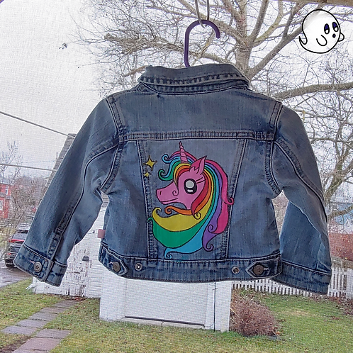 Unicorn Hand Painted Denim Jacket - Infant 18 to 24 Month