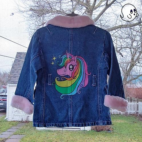 Unicorn Hand Painted Denim Jacket - Toddler 2T