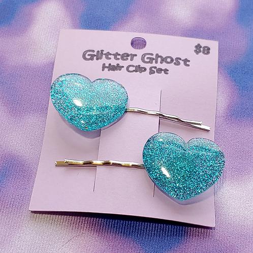 Glitter Hearts Hair Clip Set