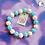Thumbnail: Blue and White Bead Stretch Bracelet