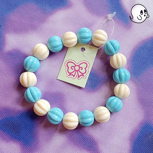 Blue and White Bead Stretch Bracelet