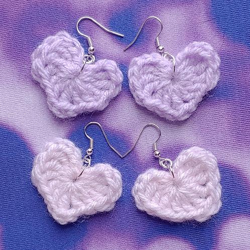 Crochet Heart Dangle Earring