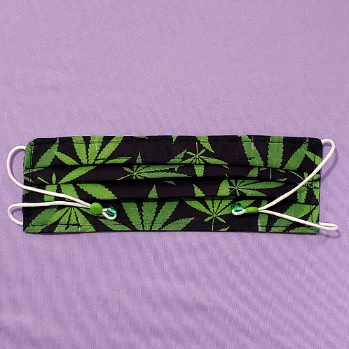 Weed Leaf Adult Face Mask with Pockets