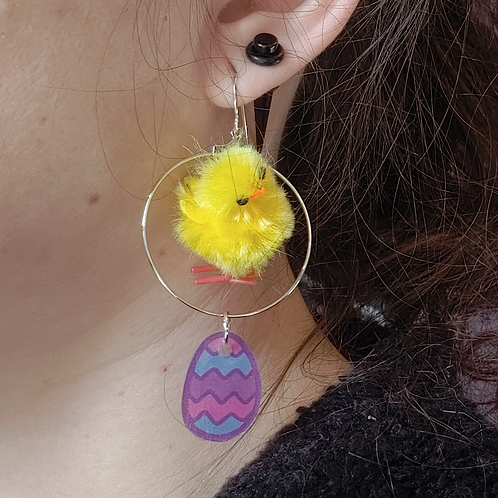 Chick and Zig Zag Egg Dangle Earring