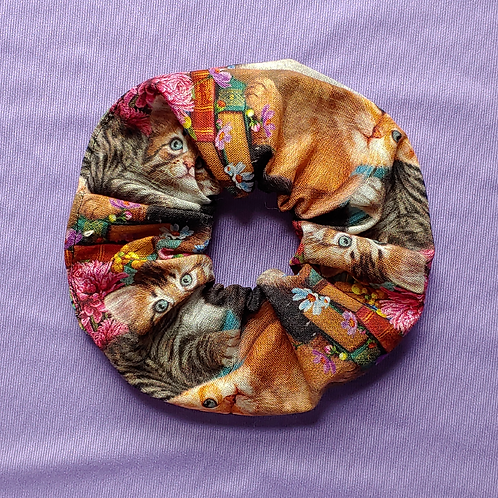 Cats and Books Scrunchie
