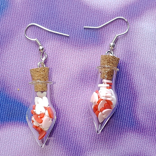 Red, White and Pink Hearts Love Potion Dangle Earring