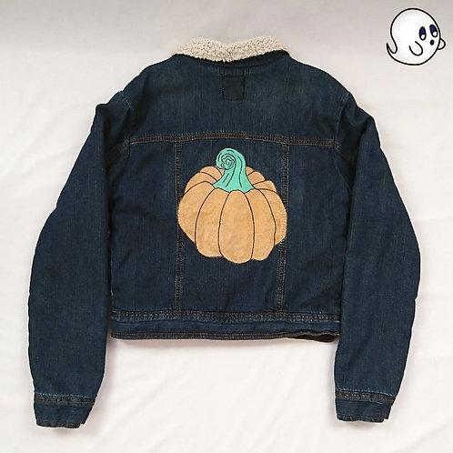 Pumpkin Painted Denim Jacket - Child Xlarge (14)