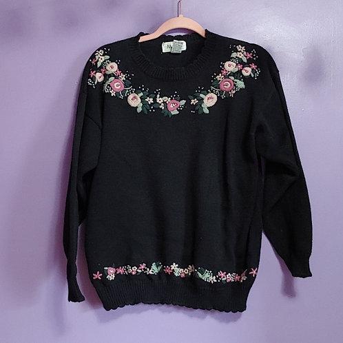 Vintage Black M.A.T. Cotton Knit Sweater - Large