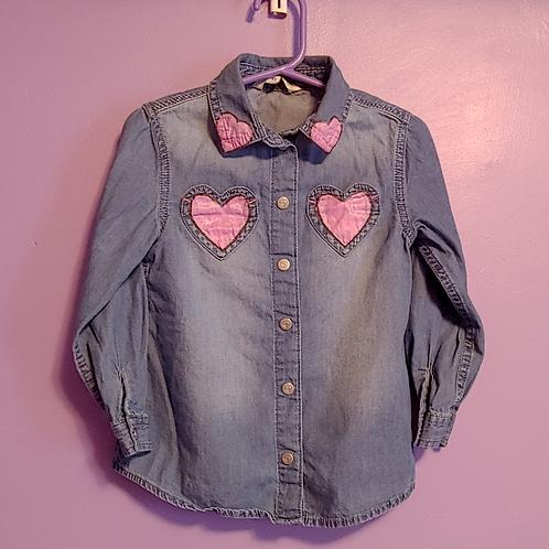 Heart Painted Denim Shirt - Toddler 4T