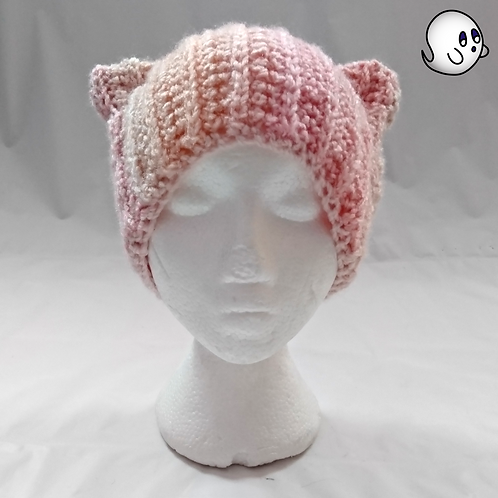 Variegated Pink to Coral Crochet Cat Ear Hat