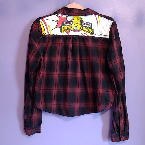 Power Rangers Reworked Cropped Flannel Shirt - Women's Medium