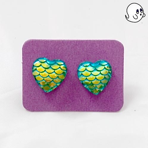 Green Mermaid Heart Stud Earring