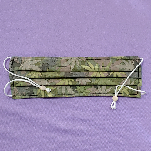 Weed Leaf Camo Adult Face Mask with Pockets