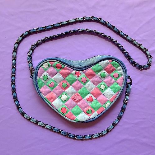 Patch Quilt Hand Painted Denim Heart Bag