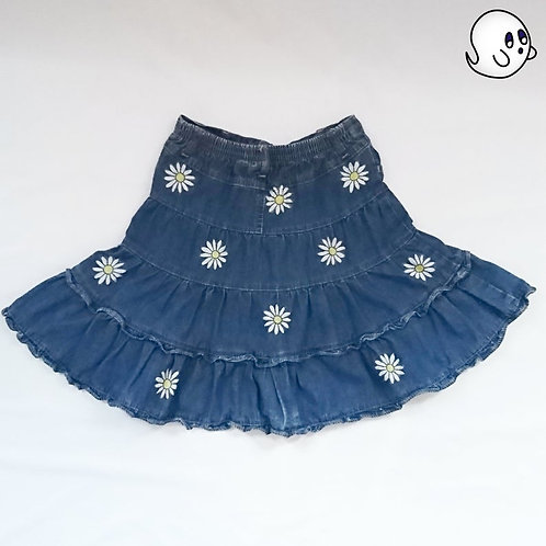 Flower Hand Painted Denim Skirt - Girls Small (6/7)