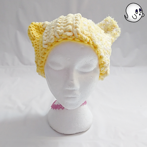 Variegated Yellow Crochet Cat Ear Hat