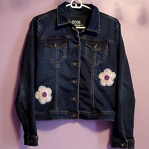 Daisy Crochet Denim Jacket - Women's Medium