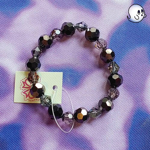 Black Crystal Bead Stretch Bracelet