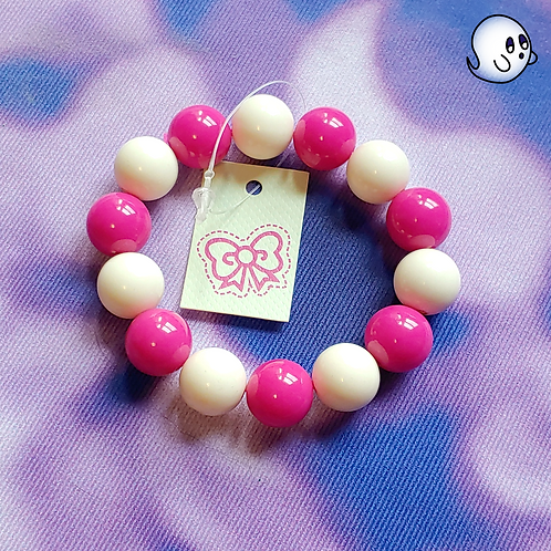 Pink and White Bead Stretch Bracelet