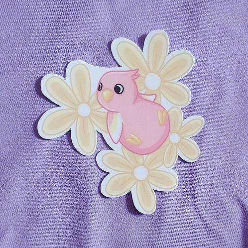 Flower Bed Pastel Birb 3 inch Sticker