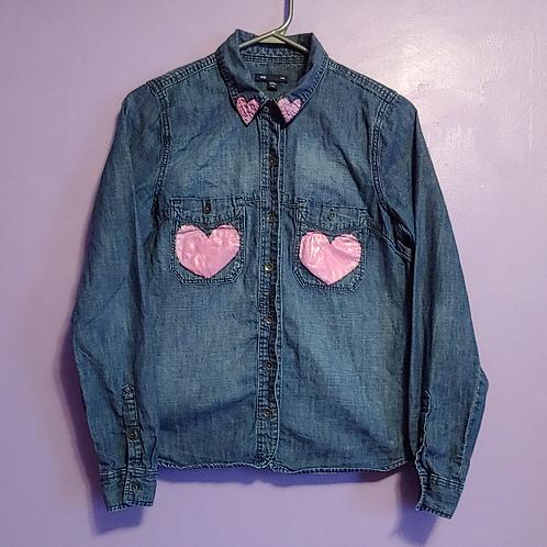 Heart Painted Denim Shirt - Women's Small