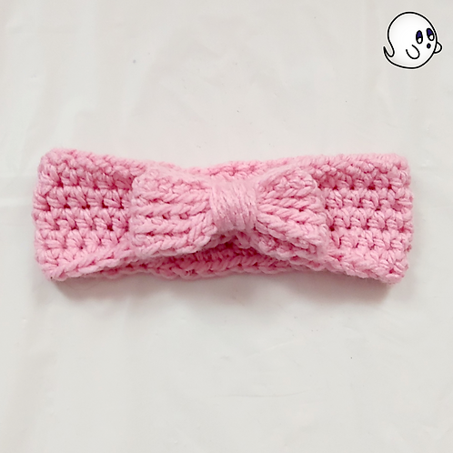 Cinched Bow Pink Crochet Ear Warmer