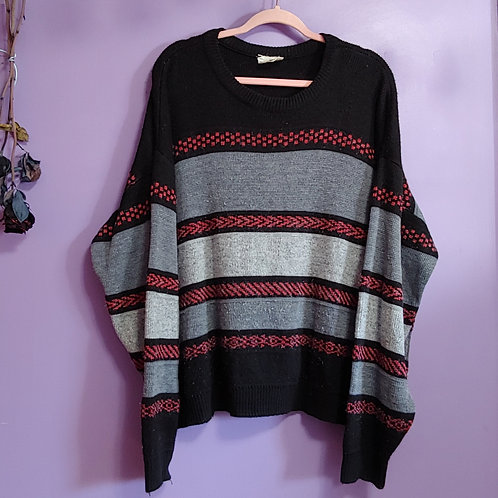 Vintage Black and Red Caricom Knit Sweater - xLarge