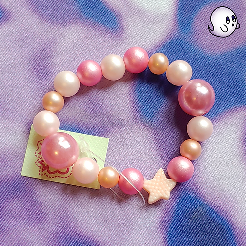 Pink and Coral Starfish Bead Stretch Bracelet